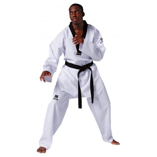 Taekwondo Anzug Revolution mit schwarzem Revers und Logo der Kampfkunstschule Fichtner
