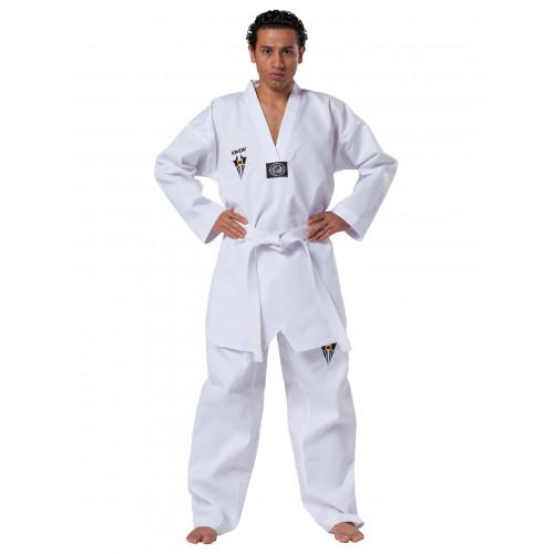 Taekwondo Anzug Starfighter mit weißem Revers und Logo der Kampfkunstschule Fichtner